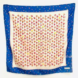 Vintage GIVENCHY FLORAL DOTS SILK SCARF